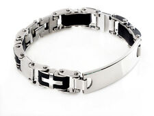 Cool Mens Rubber Silver ID Cross Stainless Steel Chain Bracelet link Bangle H