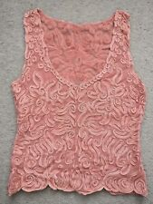 Lace vintage top vest sheer skin hand sewn festival evening 6-10 stretch