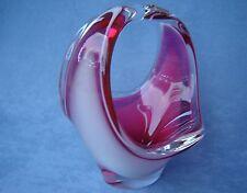 Flygsfors Vintage Crystal Art Glass Designed by Paul Kedelv Pink Signed 1961