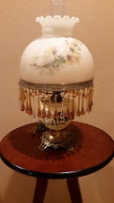 Antique Victorian Student Hurricane Oil Lamp With Shade and Teardrop Prisms Nice