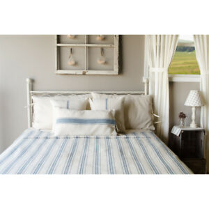 """Grain Sack Stripe Cream and Colonial Blue 94"""" x 104"""" Queen Bedcover from Home"""