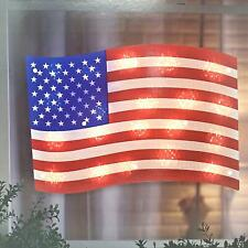 Lighted Patriotic Flag Window Silhouette Decoration - 1 Piece