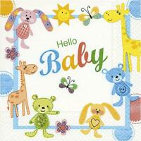 20 x Hello Baby Tissue Paper 3 Ply Table Napkin Serviettes For Decoupage 33x33cm