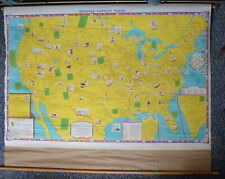 Unusual Antique Pull-Down Map of Authors Books Literary Locations United States