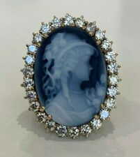 9K solid gold w/ 2.20CT Diamond & Blue Carved Agate Cameo ring 8.50g size M -  6