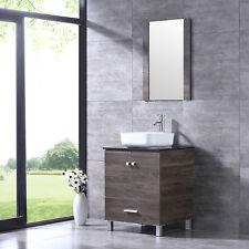 "24"" Bathroom Vanity Wood Cabinet Round White Ceramic Sink Combo w/Mirror Brown"