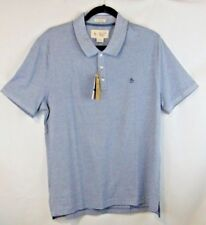 Penguin Men L Slim Fit Vintage Indigo Trimmed In Navy So Soft Polo Shirt NWT NEW