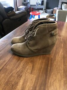 Madden Girl 7.5 Dusky Lace Up Wedge Ankle Boots Women's Brown