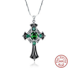 AAA Emerald 100% 925 Sterling Silver Knight Shield Cross Chain Pendant Necklace
