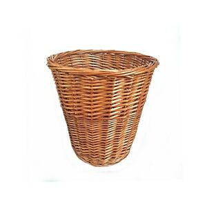 Vintage Handmade Rattan Wicker Planter Woven Waste Paper Basket Bin Medium Size