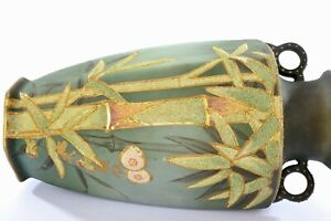 1920's Japanese Green Coralene Beads Porcelain Vase Bamboo Mk RS Japan