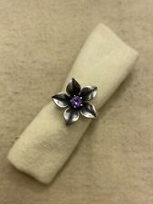Retired James Avery Sterling Silver Amethyst Flower Purple Ring Size 10