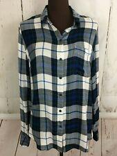 Lucky Brand Bungalow Flannel Long Sleeve Button Shirt Womens Sz Large Blue Plaid