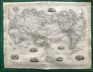 1851 Antique Map; The World on Mercator's Projection - John Tallis / Rapkin