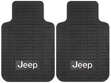 Jeep Logo Front Universal Floor Mats Pair Black Rubber New Free Shipping USA