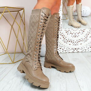 WOMENS LADIES SLIP ON LACE ANKLE BOOTS QUILTED PLATFORM KNIT WOMEN SHOES SIZE
