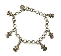 Vintage Oxidized Sterling Silver 925 Heart Clawn Rolo Link Chain Charm Bracelet
