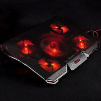 Laptop USB Red LED 5 Fan Notebook Cooling Cooler Adjustable Stand Pad Black