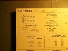1958 Plymouth 318 CI V8 SUN Electric Corp Tune Up Chart Sheet Great Condition!