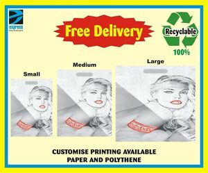 100x PLASTIC POLYTHENE CARRIER BAGS - GREY PRINTED LADY DESIGN BAGS
