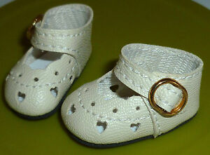 """Cream Heart Cut Out Shoes Side Buckle Fits Expressions 10"""" Emily  37/16 mm"""