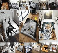 FAUX FUR 3D ANIMAL PRINT Fleece Sofa Warm & Cosy Double & King Bed Blanket Throw
