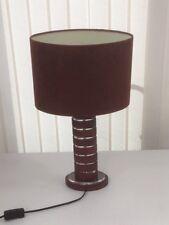 Nice Unusual Table Lamp in Dark Wood/Perspex with Brown Suede Shade