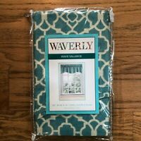 "Waverly Wave Aqua 100% Cotton Window Valance 50"" x 16"" NEW"