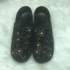 Dansko Black Tapestry/Gold Floral Embroidered Clogs Size 38