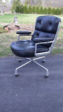 Eames Time and Life aluminum group chair,Herman Miller,vintage black leather