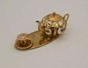 Crystal Delight 24K Gold Plated Austrian Crystal Miniature Teapot Teacup Teaset