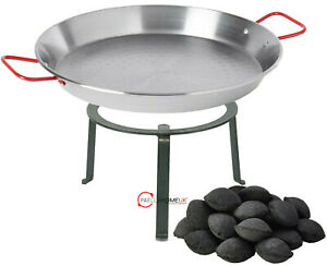 30cm Paella Pan Open Fire Beach & Garden for Wood & Charcoal Wrought Iron Stand