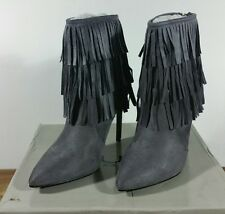 LIGHT GREY HIGH STILETTO HEEL TASSLE ANKLE BOOTS BACK ZIP SIZE 7 BOXED