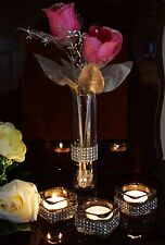 3 Pieces Diamante Tea Light Candle Holder With Vase and Pink Roses Wedding Decor
