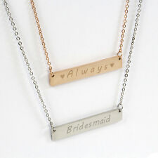 Personalised Engraved Name Bar Necklace - Rose Gold & Silver - Bridesmaid Gift