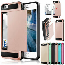 Slide Card Holder Armor Hard Shockproof Case Cover for Apple iPhone 7 6 6S Plus