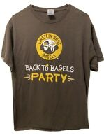 Einsteins Bagels Brown Party T Shirt short sleeve Mens Cotton L Large