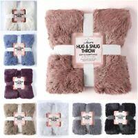 Luxury Teddy Hug & Snug Throw Fluffy Fleece Sofa Bed Blanket Soft Cosy 150x200cm