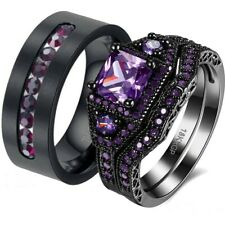 His Titanium And Her Cz Purple Black Plated bridal engagement Wedding Ring Set