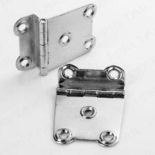 "2 x SILVER 1.5"" CRANKED SURFACE HINGE Offset Wood Furniture Chest Trunk Crank"