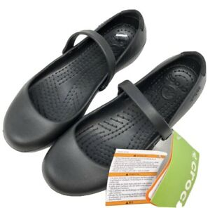 Crocs Womens Size 6 Alice Mary Jane Work Flat Shoes Black New