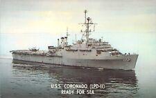 US Navy Ship, USS Coronado (LPD-11), Ready for Sea, Old Postcard