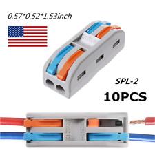 10Pcs Reusable Spring Lever Terminal Block Pct-2-2 / Spl-2 Wire Cable Connectors