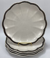 Set of 4 Roscher Collection Hobnail Off-White Stoneware Dinner Plates