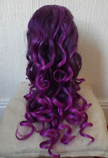 New Long Purple Wig Gothic Vampire Medieval Cosplay Fancy Dress Costume BNWT