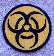"BIOHAZARD PATCH Yellow 3"" Cloth Badge/Emblem Biker Jacket Bag Iron or Sew On"