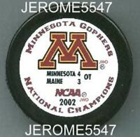 2002 WHITE MINNESOTA GOPHERS NCAA NATIONAL CHAMPIONS CHAMPS PUCK - #C8L