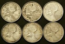 1939 1940 1942 1943 1944 1947ML Canada 25 Cents Lot of 6 Silver #1408