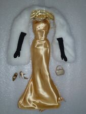 Barbie Gold Evening Fashion With Faux Fur Stole ~Fits Silkstone~  Free U.S Ship