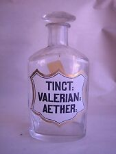 TINCT VALERIAN AETHER clear glass Apothecary bottle with ground stopper / lid